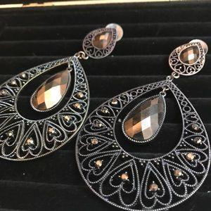 Oversized Silver Rhinestone Goth Earrings